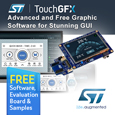TouchGFX from STMicroelectronics accelerates design of HMI graphic user interface. Software, samples and evaluation boards available from Anglia